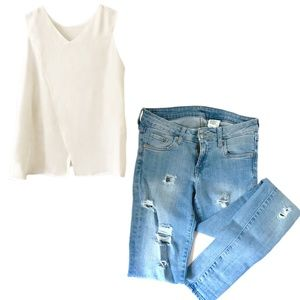 Ripped Jeans and Open Back Tank Combo